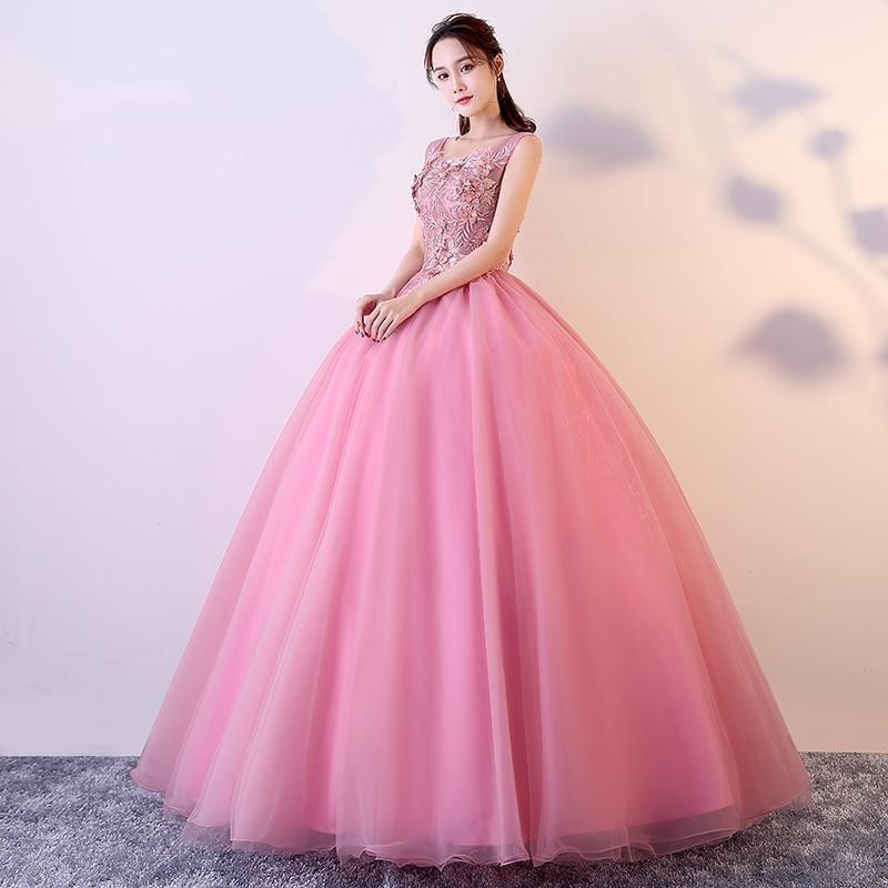Illusion corsage rose Quinceanera robes 3D Appliques Vestido Debutante 15 Anos princesse bouffi robes de bal Vestido Quinceanera