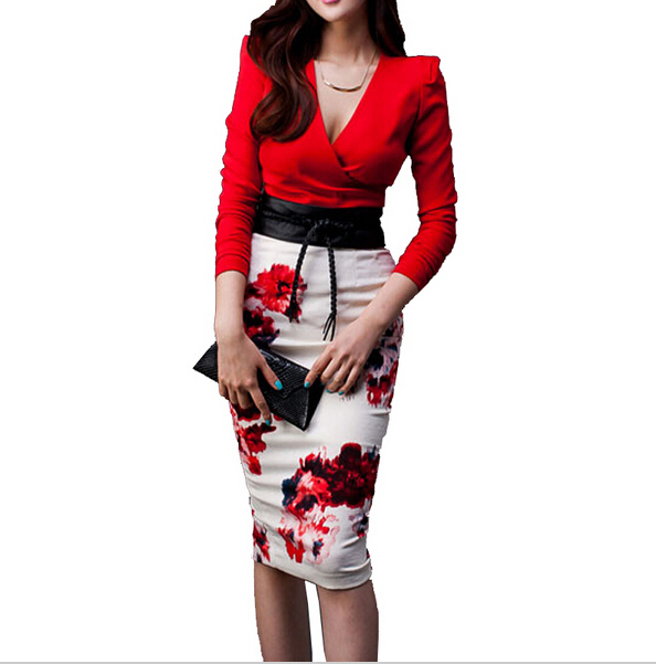Women Sexy V Neck Party Set 2pcs Dress Suits Female Long Sleeve Printing Slim Fashion Twinset  Bodycon Clothing with Belt