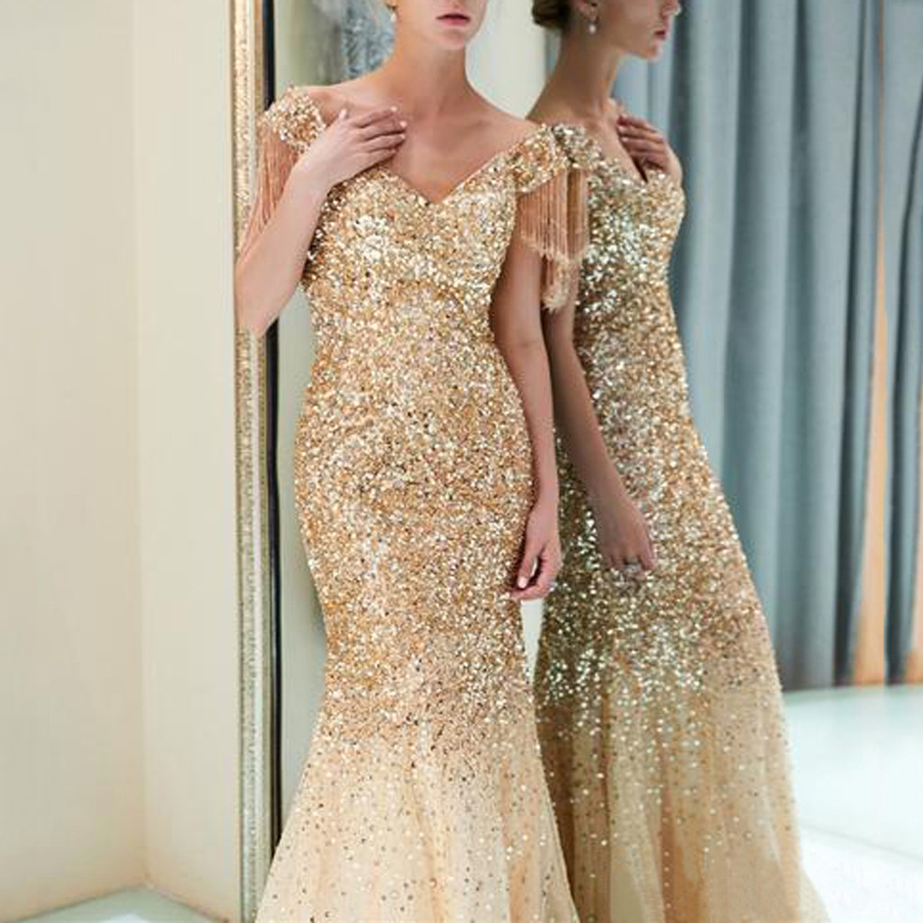 2019 New Women Sexy Showback Sexy Party Elegant Deresses Deep V Sleeveless Neckless Long Maxi Gold Dress Vestidos