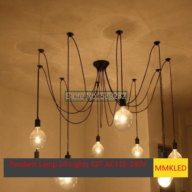 Svítidlo SimpleStyle Edison s lustrem, lampa10 světla E27 AC110V-240V (bez žárovek)