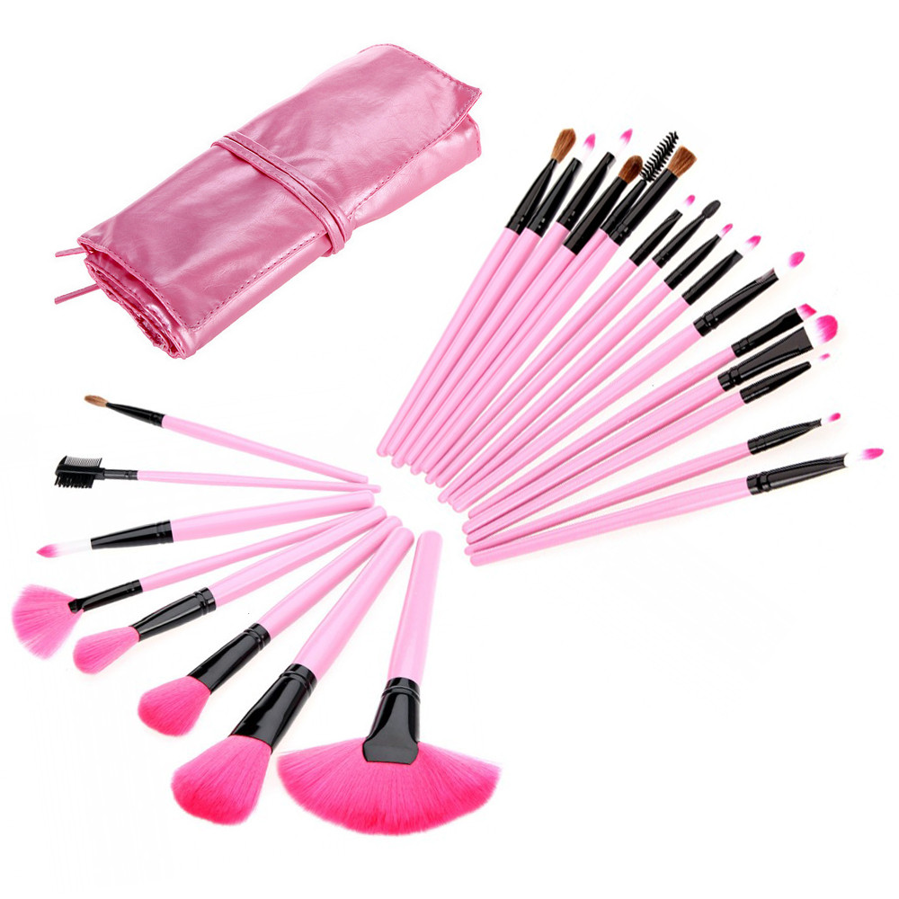 Sponge Puff+24 PCS Cosmetic Foundation Cosmetic Powder Multifunction Toiletry Brushes Professional Makeup Brushes  High Quality candy color calabash shaped cosmetic makeup cotton pads sponge puff purple