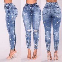 2019 New Spring High Waist Ripped Hole Pencil Jeans Pants Woman Blue Elastic Denim Casual Plus Size Trousers