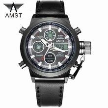 ذكر موضة الرياضة العسكرية ساعات المعصم 2020 جديد AMST الساعات الرجال العلامة التجارية الفاخرة 5ATM 50m الغوص LED الرقمية التناظرية ساعات كوارتز