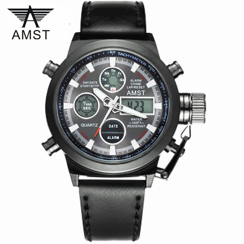 Male Fashion Sport Military Wristwatches 2018 New AMST Watches Men Luxury Brand 5ATM 50m Dive LED Digital Analog Quartz Watches