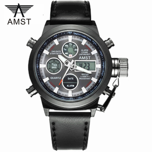 Image 1 - Male Fashion Sport Military Wristwatches 2020 New AMST Watches Men Luxury Brand 5ATM 50m Dive LED Digital Analog Quartz Watches