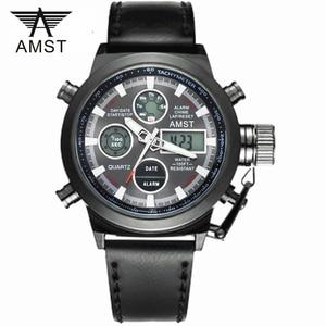 Image 1 - Orologi da polso militari sportivi di moda maschile 2020 nuovi orologi AMST orologi da uomo di lusso di marca 5ATM 50m orologi al quarzo analogici digitali a LED da immersione
