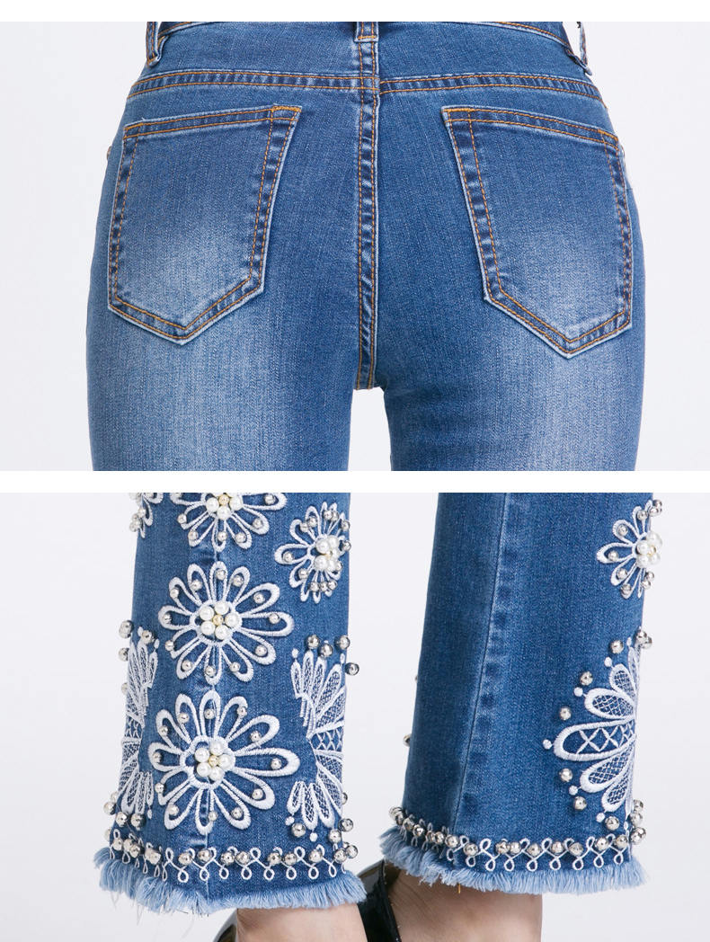 KSTUN women embroidered beaded jeans high quality luxury stretch sexy ladies denim pants bell bottoms flared elegant jeans mujer 19