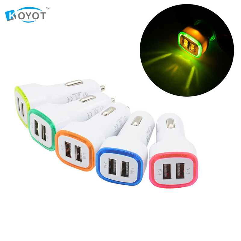 Universal LED Light Double 2 Port 2.1A+1A USB Car Charger For Samsung Apple Cell Phone Free shipping