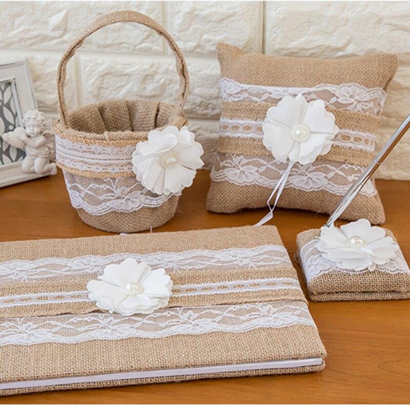 Dentelle toile de jute mariage livre d'or anneau oreiller fleur panier stylo ensemble pour romantique décorations de mariage mariée douche fête fournitures - 4
