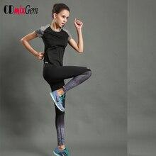 2pcs=1Set,Short Sleeve T Shirt+Yoga Pants Fast Women's Dry Running exercise Sports wear Yoga set high quality