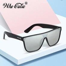 Oversized Mirror Flat Top Sunglasses Women Square B
