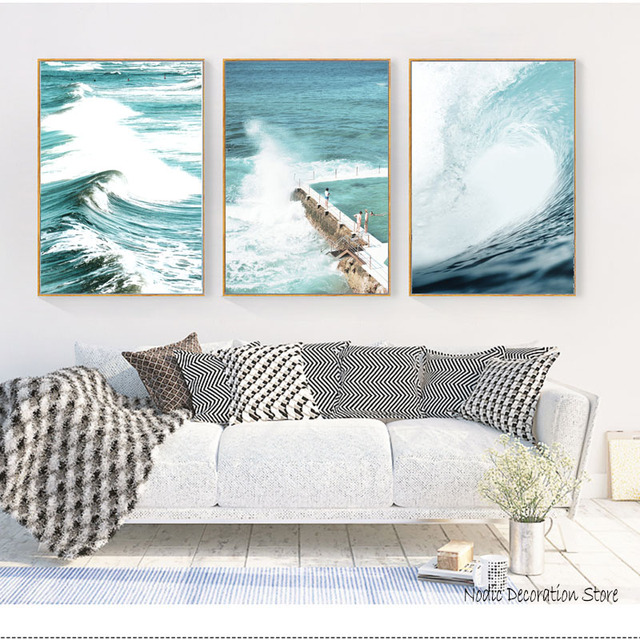 Nordic Home Canvas Prints Sea Poster Water Posters Landscape Wall Painting Living Room Unframed