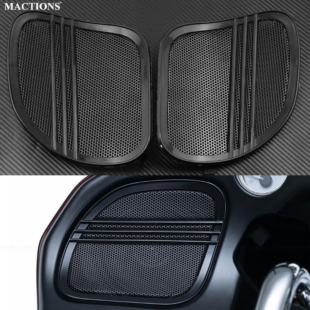 Motorbike Covers Parts Tri Line Speaker Grills Cover Trim Mesh Black For Harley Road Glide FLTRX 2015 2016 2017 2018
