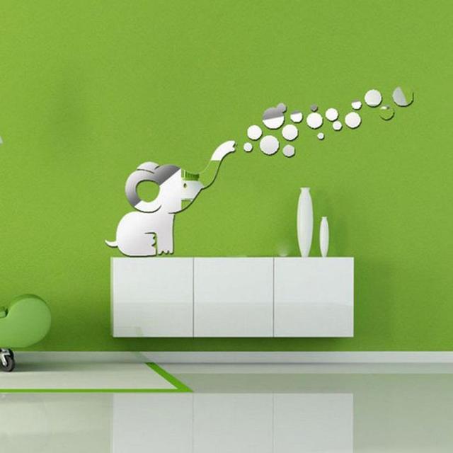 Mode Modern Dinding Stiker Gajah Meniup Gelembung Diy Cermin Dekorasi Rumah Dapur