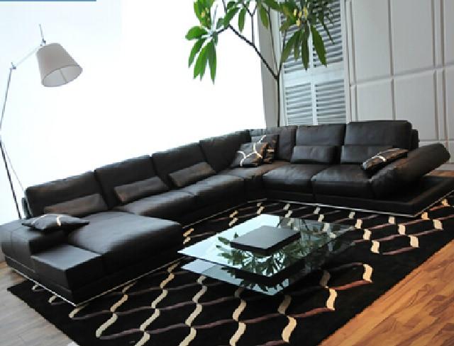 All Black Leather Sofa Living Room Set Modern Foshan Nav223