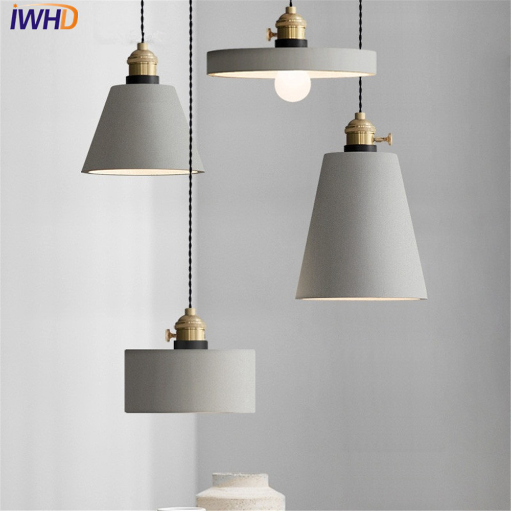 Nordic industrial wind cement droplight led vintage pendant light fixtures loft style iron hanging lamp for indoor lighting
