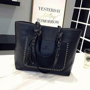 Image 5 - Fashion Women PU Leather Bag Tassel Handbags Women Big Totes Bags Luxury Designer High Quality sac a main Vintage Shoulder Bag