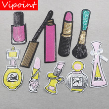 VIPOINT embroidery sequins nail polish patches lipstick badges applique for clothing XW-20