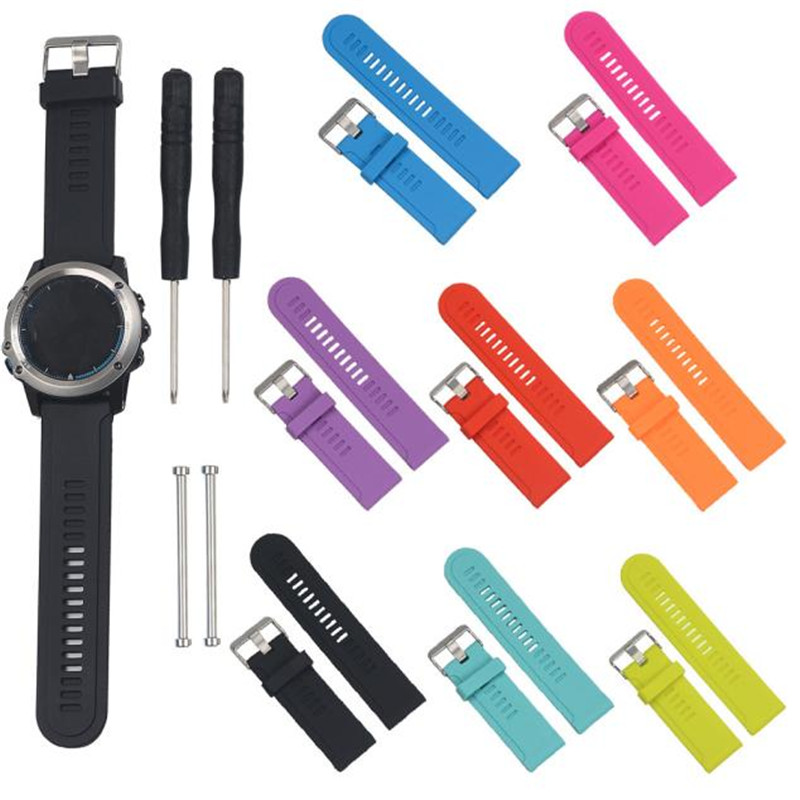 On sale Silicone Strap Replacement Watch Band + Lugs For Garmin Fenix/Fenix 2 Watch watch band watch women /men Dropship eache silicone watch band strap replacement watch band can fit for swatch 17mm 19mm men women