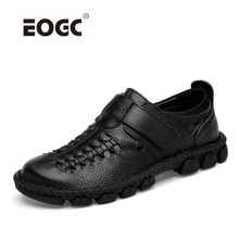 Plus Size Natural Leather Summer Casual Shoes Breathable Men Flats Lace Up Non-slip Walking Sneakers