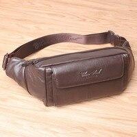 Genuine Leather Small Messenger Shoulder Crossbody Bags for Men Waist Belt Bag Male Fanny Pack Phone Pouch Wallet Bag sac banane