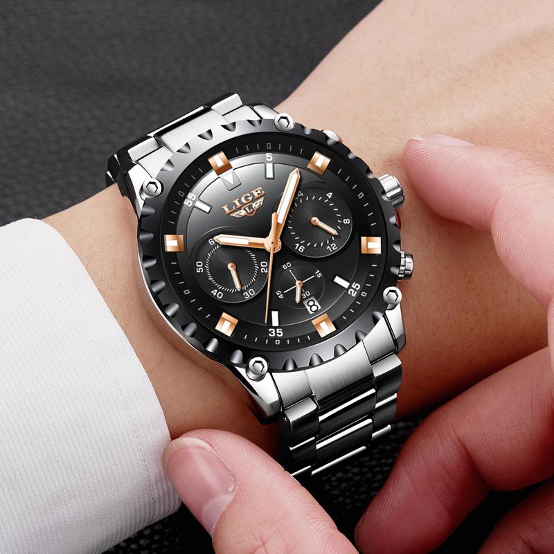 Men Fashion Sport Quartz Clock Mens Watches Top Brand Luxury LIGE Watch Full Steel Business Waterproof Watch Relogio Masculino new fashion men business quartz watches top brand luxury curren mens wrist watch full steel man square watch male clocks relogio