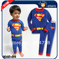 kid's pajamas boy's blue superman pj 100% cotton kid's sleeping wear 6pcs/lot