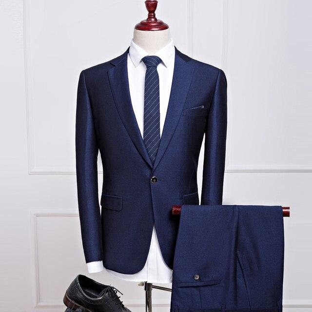 2 unids hombres traje traje homme mariage 2016 de corea slim fit trajes para hombre con pantalones desgaste formal de negocios Trajes de boda Smoking s-xxxl