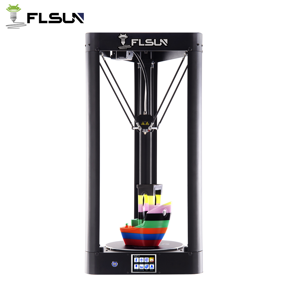 High Printing Speed Flsun-QQ Delta 3D Printer 95% Pre-assembly Large Printing Area 260*260*370mm Metal Frame Touch Screen Wifi 2018 flsun i3 3d printer diy kit dual nozzle touch screen large printing size 300 300 420mm two roll filament for gift