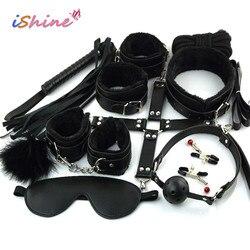 10 шт./компл. секс-игрушка для женщин женские эротические игрушки для взрослых БДСМ секс бандаж комплект наручники соск кнут секс-игрушки для...