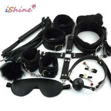10Pcs/set Sex Toy For Woman Erotic Toys Adults BDSM Sex Bondage Set Handcuffs Nipple Clamps Gag Whip Rope Sex Toys For Couples