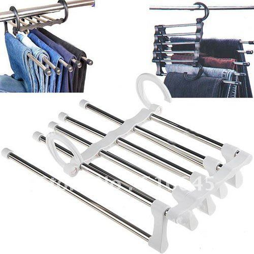 Free Shipping White Magic Multifunctional Retractable Pants Rack - 5-in-1-54641
