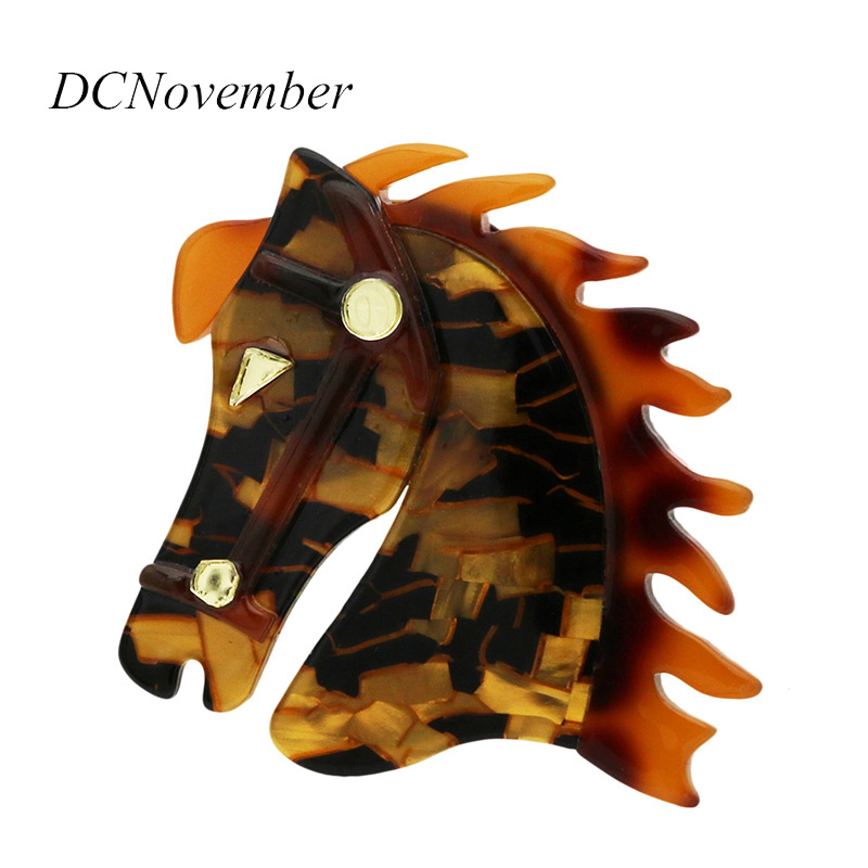 Vintage Horse Head Brooches Environmental Acrylic Animal Brooch Pins For Women Man Jewelry Accessory DCNovember цена 2017