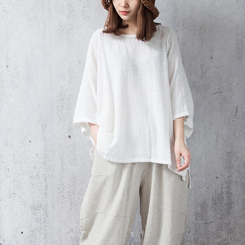 Blouses ZANZEA Summer Blouse 2018 Women Round Neck Batwing Sleeve Shirt Cotton Linen Top Baggy Blusas Work White Blusa Plus Size 1