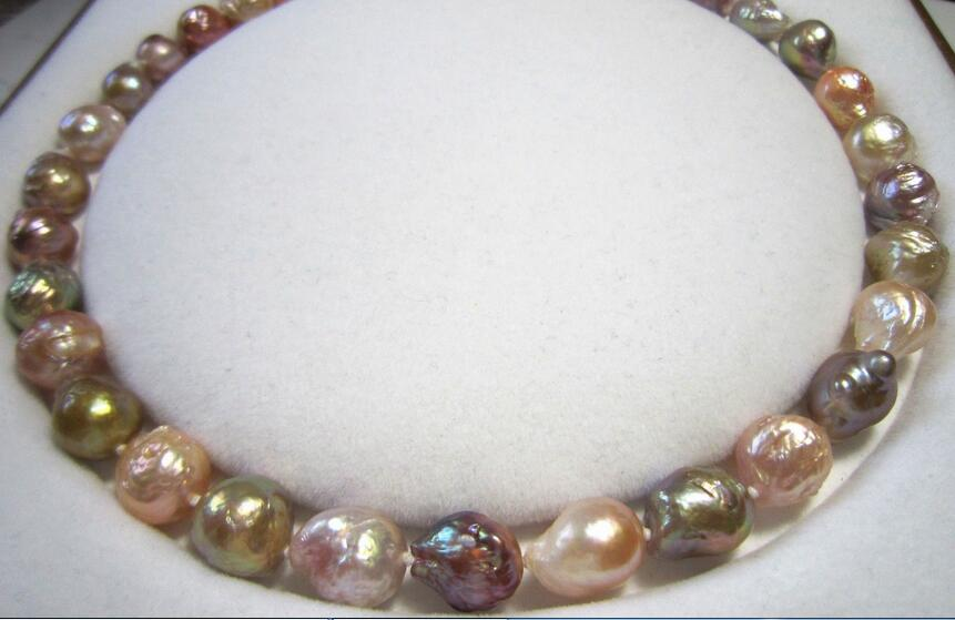baroque 18 36AAA 13-11 MM NATURAL multicolor PEARL NECKLACE Yellow CLASP baroque 18 36AAA 13-11 MM NATURAL multicolor PEARL NECKLACE Yellow CLASP