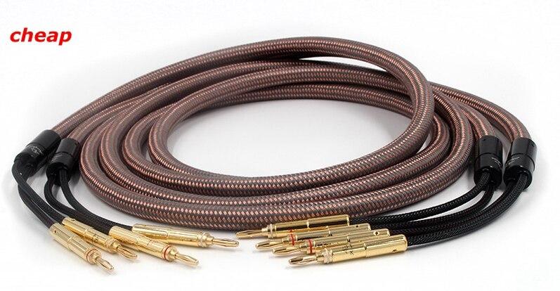 Kostenloser versand Lautsprecher Kabel Accuphase OCC Reinem Kupfer Audio Lautsprecher Draht mit Gold überzogene Banana Stecker auf