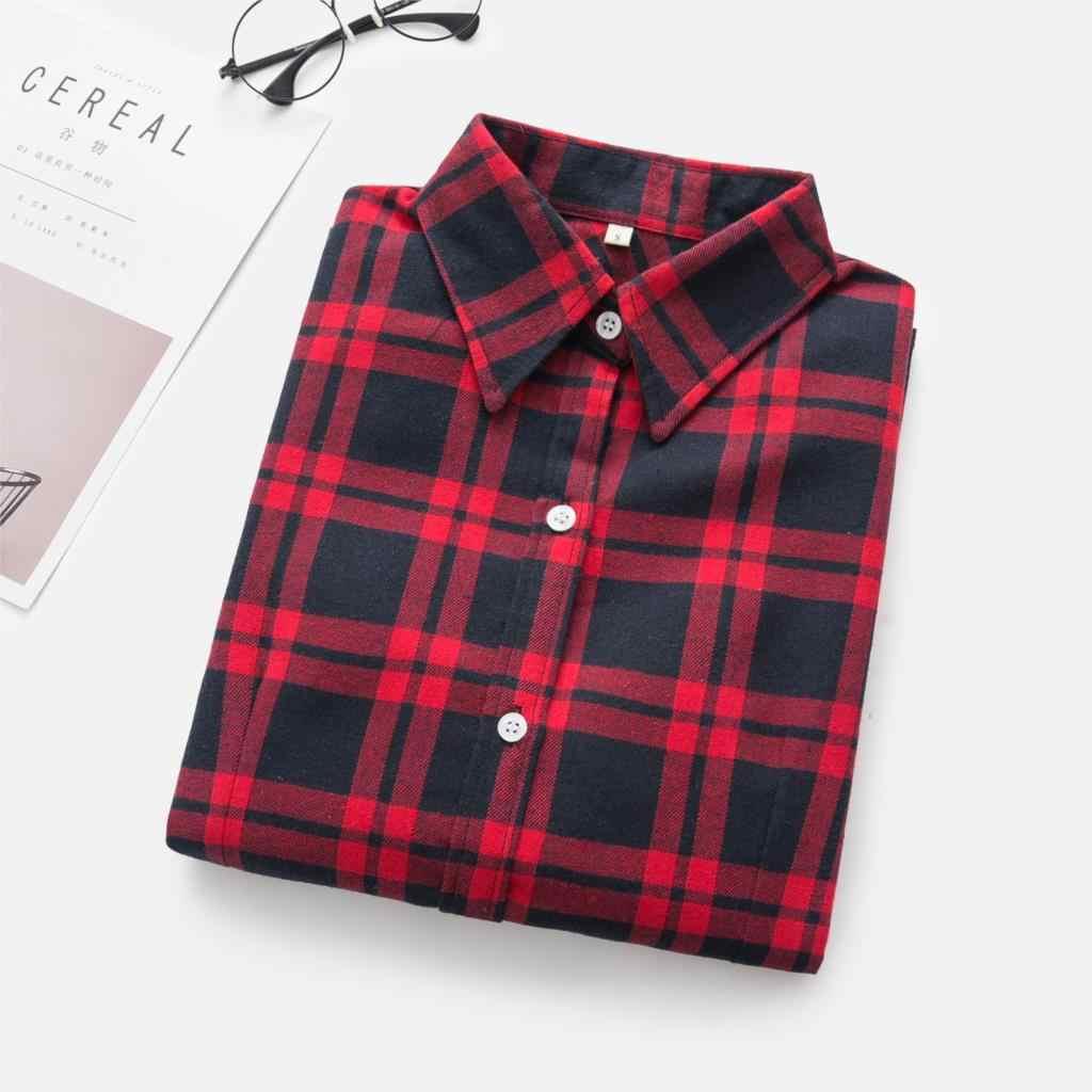 Koszule damskie 2018 jesienna i zimowa koszula damska koszula w kratę kobiety slim bawełniana bluzka z długim rękawem top damska odzież wierzchnia