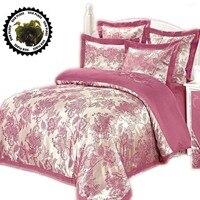 Silk Satin 100 Cotton Luxurious Bedding Sets RU Size Discount Bedding Jacquard Damask Bedlinen Bedclothes