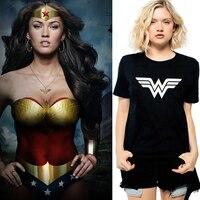 US Anime Superhero Wonder Woman Logo Print Women Vogue T Shirt Girl Combed Cotton Black White