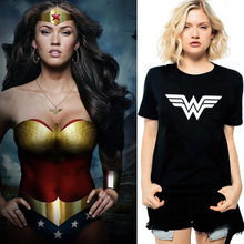 US Anime Superhero Wonder Woman Logo Print Women Vogue T shirt Girl Combed Cotton Black White