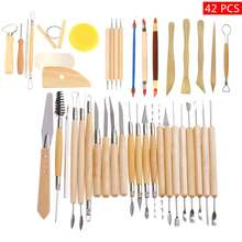 42PCS Pottery Clay Sculpture Carving Modelling Pottery & Ceramics Wooden Handle DIY Craft Tools Kit form FR US CN