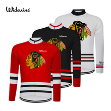 ФОТО chicago blackhawks quick dry breathable cycling jersey long sleeve summer men's shirt bicycle tops bike cycling clothing 8002b