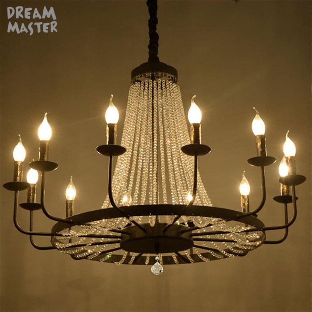 Vintage noir branche arbre lustres, luxe D80cm D93cm grand K9 cristal lustre éclairage, 8 12 œuvre salon suspension lampe
