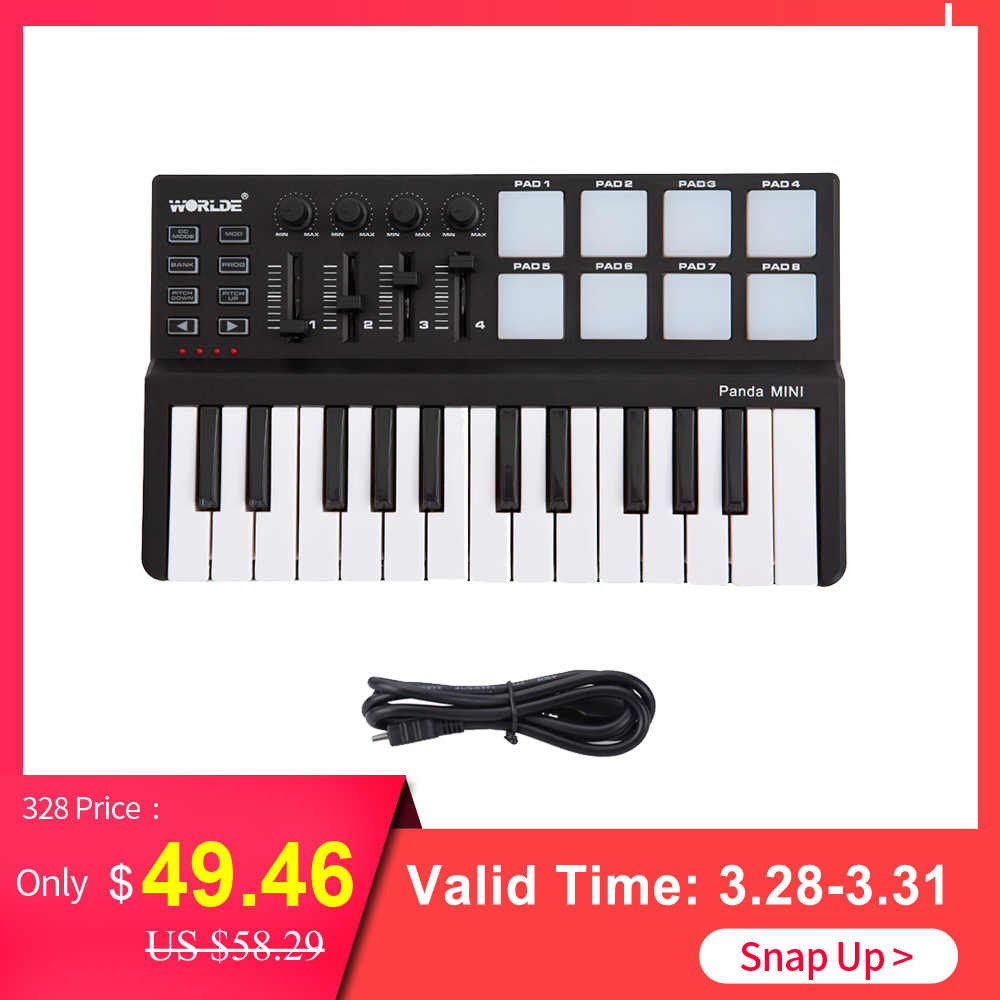 MIDI Keyboard USB 25 Key MIDI Controller Keyboard mini Portable 25 Key MIDI  Keyboard Controller Drum Pad Set with USB Cable