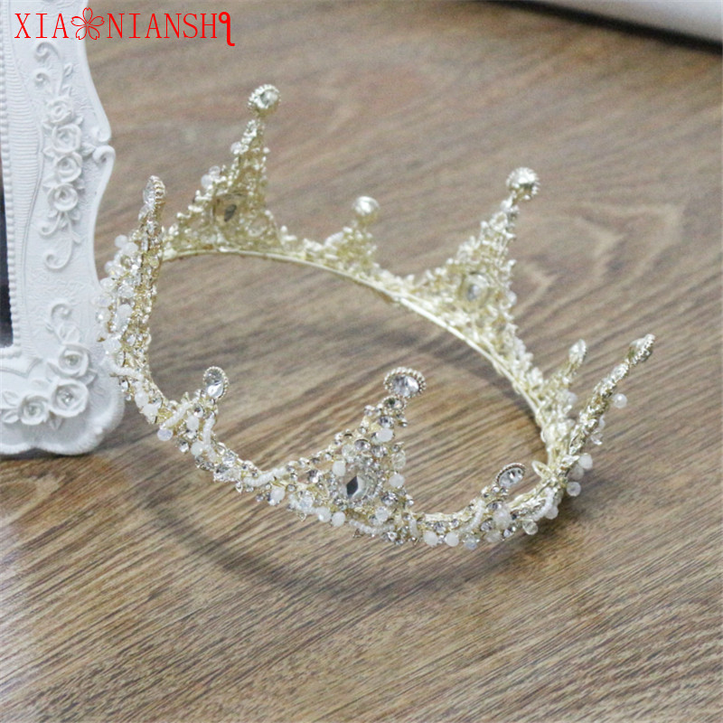 XIAONIANSHI Newest Empress King Crown Imperial Medieval Pageant Prom Accessories Rhinestone Irises Taria Full Round Crown LS256