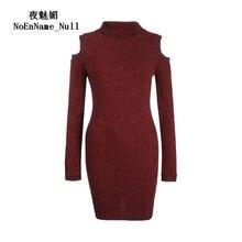 Осень 2017 г. и зиму Свитера, пуловеры Для женщин вязать Sexy с открытыми плечами Свитеры для женщин водолазка полный Однотонный свитер платье