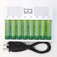 8 Pcs Etinesan NiZn 1.6 V AA 2500mWh Bateria Recarregável NiMH AA AAA baterias + 8 portas-Ni Zn Carregador de bateria inteligente