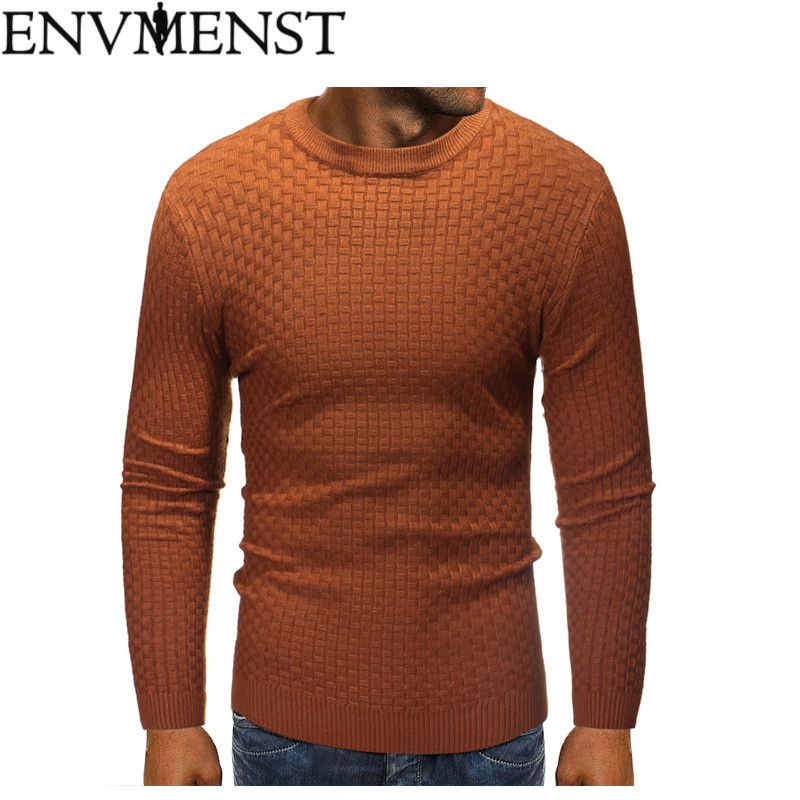 Fashion Solid Color Designer Men Pullover Sweaters 2018 Auutmn Winter New Brand O-Neck Slim Fit Pullovers 2 Colors
