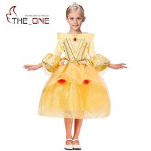 Girls Belle Cosplay Costume Children 5 Layers Princess Dresses Kids Flare Sleeve Lace Layered Tutu Dress Girl Ballgown Clothing