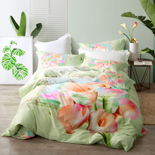 3d Flowers Calla Lily Bedding Set Queen & King Size Cotton Floral Print Duvet Cover Bed Sheets Pillowcase Bedroom Set
